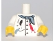 Part No: 973pb0848c01  Name: Torso Painter's Smock with Buttons, Scarf and Paint Spots Pattern / White Arms/ Yellow Hands