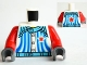 Part No: 973pb1000c01  Name: Torso Racers with 5 Buttons, Stripes and Red Star Front and Back Pattern / Red Arms / Dark Bluish Gray Hands