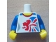 Part No: 973pb1166c01  Name: Torso Gymnast Leotard with Large Red and Blue Team GB Logo Pattern / Blue Arms / Yellow Hands