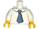 Part No: 973pb2001c01  Name: Torso Simpsons Shirt with Dark Bluish Gray Tie Pattern / White Arms / Yellow Hands