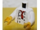 Part No: 973pb3131c01  Name: Torso Chef with 8 Buttons, Long Red Neckerchief, Light Bluish Gray Wrinkles Front, LEGO House Home of the Brick Back Pattern / White Arms / Yellow Hands