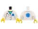 Part No: 973pb3140c01  Name: Torso Hospital Lab Coat, Medium Azure Scrubs, Blue EMT Star of Life, Pocket with Pen Pattern / White Arms / Yellow Hands