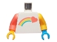 Part No: 973pb3650c01  Name: Torso Coral Shooting Heart and Rainbow Pattern / Bright Light Orange Arm Left / Coral Arm Right / Dark Azure Hand Left / Bright Light Orange Hand Right