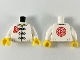 Part No: 973pb3669c01  Name: Torso Gi with 3 Gold Frog Clasps, Red Flower Symbol on Lapel and Back Pattern / White Arms / Yellow Hands