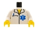 Part No: 973px168c01  Name: Torso Hospital EMT Star of Life, Open Collar, Pocket Pen Pattern / White Arms / Yellow Hands
