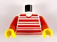 Part No: 973px62c01  Name: Torso Horizontal Red Stripes Pattern / Red Arms / Yellow Hands