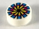 Part No: 98138pb119  Name: Tile, Round 1 x 1 with Yellow, Magenta and Dark Azure Flower and Chinese Pellet Drum Pattern
