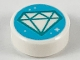 Part No: 98138pb125  Name: Tile, Round 1 x 1 with Dark Turquoise Diamond Outline on Medium Azure Background Pattern