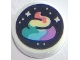 Part No: 98138pb135  Name: Tile, Round 1 x 1 with Stars and Rainbow Swirl on Black Background Pattern