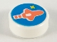 Part No: 98138pb151  Name: Tile, Round 1 x 1 with Coral Classic Spaceship on Dark Azure Background Pattern