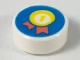 Part No: 98138pb155  Name: Tile, Round 1 x 1 with Yellow Medal with Number '1' in Circle and Coral Ribbons on Dark Azure Background Pattern