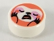 Part No: 98138pb159  Name: Tile, Round 1 x 1 with Coral Sloth with White Face, Bright Pink Around Eyes Pattern
