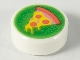 Part No: 98138pb164  Name: Tile, Round 1 x 1 with Yellow Pizza Slice with Coral Crust and Pepperoni on Bright Green Background Pattern