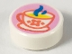 Part No: 98138pb165  Name: Tile, Round 1 x 1 with Steaming Teacup with Coral Outline and Flower, Yellow Drink, and Dark Azure Steam Pattern