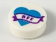 Part No: 98138pb167  Name: Tile, Round 1 x 1 with Dark Azure Heart and Banner with Dark Purple 'BFF' Pattern