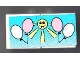 Part No: BA013pb01  Name: Stickered Assembly 4 x 2 with White and Pink Balloons with Yellow Sun Pattern (Sticker) - Set 6409 - 2 Tile 2 x 2