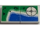 Part No: BA013pb05  Name: Stickered Assembly 4 x 2 with Shoreline Map and Directional Compass Pattern (Sticker) - Set 6338 - 2 Tile 2 x 2