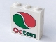 Part No: BA037pb01  Name: Stickered Assembly 3 x 1 x 2 1/3 with Octan Logo Pattern on Both Sides (Stickers) - Sets 6397 / 6472 - 2 Brick 1 x 3, 1 Plate 1 x 3