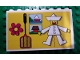 Part No: BA051pb01  Name: Stickered Assembly 8 x 1 x 4 with Jumping-Jack, House, Lake and Clown Pattern on Yellow Background (Sticker) - Set 297 - 4 Brick 1 x 8