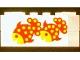 Part No: BA194pb01  Name: Stickered Assembly 6 x 6 x 2 with Orange and Yellow Fish on White Background Pattern (Sticker) - Set 265-1, 1 Brick 1 x 4, 3 Brick 1 x 6