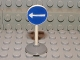 Part No: bb0140pb07c01  Name: Road Sign Old Round with White Arrow Left Pattern & Type 1 Base