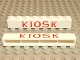 Part No: crssprt01pb08  Name: Brick 1 x 8 without Bottom Tubes with Cross Side Supports with Red 'KIOSK' Times New Roman Pattern