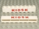 Part No: crssprt01pb11  Name: Brick 1 x 8 without Bottom Tubes with Cross Side Supports with Red 'KIOSK' Sans-Serif Thick Pattern
