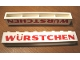 Part No: crssprt01pb15  Name: Brick 1 x 8 without Bottom Tubes with Cross Side Supports with Red 'WURSTCHEN' Thick Pattern ('WÜRSTCHEN')