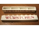 Part No: crssprt01pb16  Name: Brick 1 x 8 without Bottom Tubes with Cross Side Supports with Red 'WURSTCHEN' Thin Pattern ('WÜRSTCHEN')