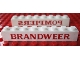 Part No: crssprt01pb35  Name: Brick 1 x 8 without Bottom Tubes with Cross Side Supports with Red 'BRANDWEER' on one and Red 'POMPIERS' Pattern on the other Side