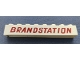 Part No: crssprt01pb40a  Name: Brick 1 x 8 without Bottom Tubes with Cross Side Supports with Dark Red 'BRANDSTATION' Pattern