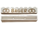 Part No: crssprt01pb45  Name: Brick 1 x 8 without Bottom Tubes with Cross Side Supports with Gold 'BAGER' and Pretzels Wide Pattern