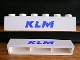 Part No: crssprt02pb03  Name: Brick 1 x 6 without Bottom Tubes with Cross Side Supports with Blue 'KLM' Pattern