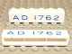 Part No: crssprt02pb16a  Name: Brick 1 x 6 without Bottom Tubes with Cross Side Supports with Blue 'AD 1762' Pattern