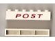 Part No: crssprt02pb34b  Name: Brick 1 x 6 without Bottom Tubes with Cross Side Supports with Red 'POST' Thin Slanted Pattern