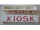 Part No: crssprt02pb42a  Name: Brick 1 x 6 without Bottom Tubes with Cross Side Supports with Red 'KIOSK' Serif Pattern