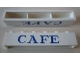 Part No: crssprt02pb46  Name: Brick 1 x 6 without Bottom Tubes with Cross Side Supports with Blue 'CAFE' Serif Pattern