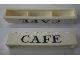 Part No: crssprt02pb59  Name: Brick 1 x 6 without Bottom Tubes with Cross Side Supports with Black 'CAFE' Serif Pattern