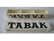 Part No: crssprt02pb60  Name: Brick 1 x 6 without Bottom Tubes with Cross Side Supports with Black 'TABAK' Serif Pattern