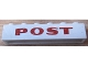 Part No: crssprt02pb76a  Name: Brick 1 x 6 without Bottom Tubes with Cross Side Supports with Dark Red 'POST' Pattern