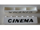 Part No: crssprt02pb77  Name: Brick 1 x 6 without Bottom Tubes with Cross Side Supports with Black 'CINEMA' Slanted Thick Pattern