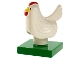 Part No: duphen2c01pb01  Name: Duplo Chicken, Hen Tail, Smooth Comb, on Green Base