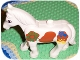 Part No: horse02c01pb04  Name: Duplo Horse with One Stud and Movable Head, Eyes and Multi-Color Decorative Pattern