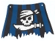 Part No: sailbb32  Name: Cloth Sail 27 x 18 with Black and Blue Stripes, Skull and Cutlass Pattern, Tatters