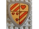 Part No: 42274pb01  Name: Duplo Utensil Shield, Flat Triangle with Red Stripes and Hearts Pattern