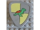 Part No: 42274pb02  Name: Duplo Utensil Shield, Flat Triangle with Yellow and Gray and Dinosaur Pattern