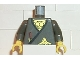 Part No: 973pb0240c03  Name: Torso Castle Ninja Wrap, Brown Dagger, Gold Star, Gold Scale Mail Pattern / Dark Gray Arms / Yellow Hands