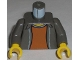 Part No: 973pb0287c01  Name: Torso Spider-Man Open Jacket with Collar and Dark Orange Shirt Pattern / Dark Gray Arms / Yellow Hands