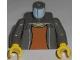 Part No: 973pb0287c01  Name: Torso Spider-Man Open Jacket with Collar and Dark Orange Shirt Pattern / Dark Gray Arms / Yellow Hands