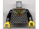 Part No: 973px117c01  Name: Torso Castle Knights Kingdom Scale Mail with Red Diamond Amulet Pattern / Black Arms / Yellow Hands